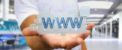 Biznesmena surfing na internecie używać dotykowego sieć adresu baru 3D Zdjęcia Royalty Free