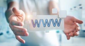 Biznesmena surfing na internecie używać dotykowego sieć adresu baru 3D Fotografia Royalty Free
