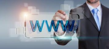 Biznesmena surfing na internecie używać dotykowego sieć adresu baru 3D Zdjęcie Royalty Free