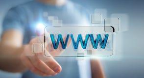 Biznesmena surfing na internecie używać dotykowego sieć adresu baru 3D Obrazy Royalty Free