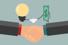 Biznesmena uścisk dłoni, wekslowy pieniądze i pomysł, Obrazy Stock