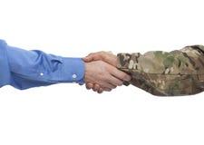 biznesmena uścisk dłoni wojskowy obraz royalty free
