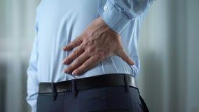 Biznesmena uczucia niski ból pleców, nerwu rozognienie, cynaderki wprowadza nieporządek zdjęcie wideo
