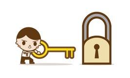 Biznesmena use klucz Rozwiązywać problem Obrazy Royalty Free