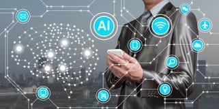 Biznesmena use smartphone z AI ikonami wraz z technologiem fotografia royalty free
