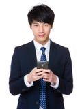Biznesmena use telefon komórkowy Fotografia Royalty Free