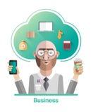 Biznesmena wektor z chmurą i tekstem Obraz Royalty Free
