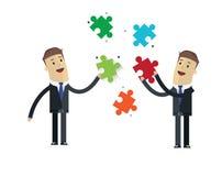 Biznesmena wektoru ilustracja Biznesmen rozwiązujący łamigłówki probl Zdjęcia Stock