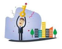 Biznesmena wektoru ilustracja kluczem sukcesu ilustracji