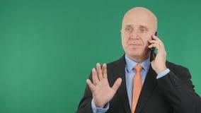 Biznesmena wizerunek używać telefon komórkowego ono Uśmiecha się i Gestykuluje zdjęcie royalty free