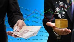 Biznesmena wp8lywy zysk od akcyjnego marke Obrazy Stock