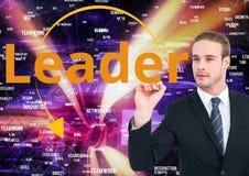 Biznesmena writing lider na ekranie sieci targowy tło Zdjęcie Royalty Free
