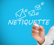 Biznesmena writing netiquette Zdjęcie Royalty Free