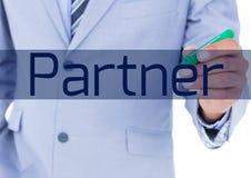 biznesmena writing partner na ekranie Obrazy Royalty Free
