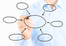 Biznesmena writing pusty diagram Zdjęcie Stock