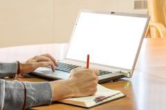 Biznesmena writing w jego kalendarzu Obrazy Stock