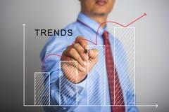 Biznesmena writing wzrostowa prętowa mapa Trendu pojęcie Zdjęcie Stock