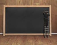 Biznesmena wspinaczkowy drabinowy rysunek na czarnym pustym chalkboard Zdjęcie Royalty Free