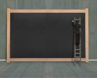 Biznesmena wspinaczkowy drabinowy rysunek na pustej czerni desce Obrazy Stock