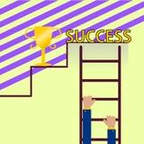 biznesmena wspinaczkowy schodków sukces royalty ilustracja