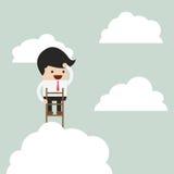 Biznesmena wspinaczkowy up drabina nad patrzeć i chmury royalty ilustracja