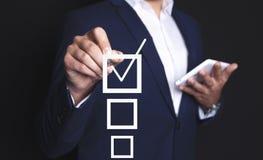 Biznesmena wybór i kwadrat ilustracja wektor