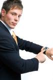 biznesmena wykazując zegarek fotografia royalty free