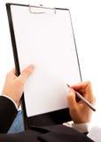 biznesmena zakończenia kontrakt wręcza target1235_1_ podpisywać zdjęcia stock