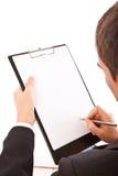biznesmena zakończenia kontrakt wręcza target684_1_ podpisywać fotografia royalty free