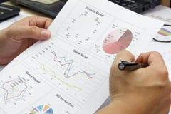 Biznesmena Zbiorczy raport i analizować rynku kapitałowego plan Zdjęcia Royalty Free