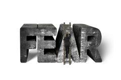 Biznesmena zdobywania strachu betonu słowa wspinaczkowy drabinowy isolat Zdjęcia Royalty Free