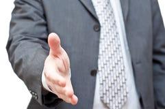 biznesmena zmroku przedłużyć ręki potrząśnięcia kostium Obrazy Royalty Free