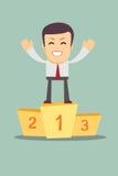 Biznesmena zwycięzcy pozycja w pierwszy miejscu na a Obrazy Royalty Free