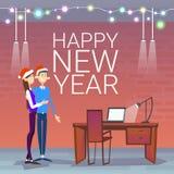 Biznesmeni Świętują Wesoło boże narodzenia I Szczęśliwego nowy rok pary odzieży Santa kapelusz ilustracja wektor
