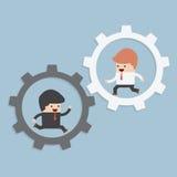 Biznesmeni biega w przekładni ilustracja wektor