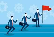 Biznesmeni biega z teczką i czerwoną flagą royalty ilustracja