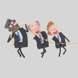 Biznesmeni ciągnie arkanę wpólnie royalty ilustracja