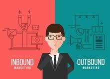 Biznesmeni decydują między wektorowym projektem Przylatującym marketingiem i wyjeżdżające marketingowym sztandarem ilustracja wektor