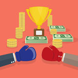 Biznesmeni i bokserski pojedynek ilustracja wektor