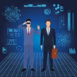 Biznesmeni jest ubranym rzeczywisto?ci wirtualnej s?uchawki royalty ilustracja