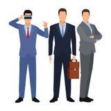 Biznesmeni jest ubranym rzeczywisto?ci wirtualnej s?uchawki ilustracji