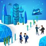 Biznesmeni Komunikuje w Futurystycznym Smart City royalty ilustracja