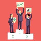 Biznesmeni które wygrywali rywalizację dla prezentaci ich projekty, Zdjęcie Stock