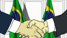 Biznesmeni lub politycy trząść ręki przeciw flaga Brazylia Spotkania lub współpraca kreskówki powiązana ilustracja ilustracja wektor