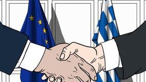 Biznesmeni lub politycy trząść ręki przeciw flaga Europejskiego zjednoczenia UE i Grecja Oficjalny spotkanie lub współpraca royalty ilustracja