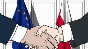 Biznesmeni lub politycy trząść ręki przeciw flaga Europejskiego zjednoczenia UE i Polska Oficjalny spotkanie lub współpraca ilustracji