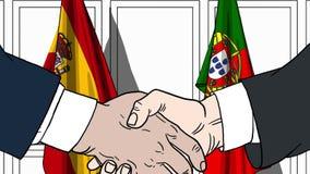 Biznesmeni lub politycy trząść ręki przeciw flaga Hiszpania i Portugalia Oficjalny spotkanie lub współpraca odnosić sie royalty ilustracja