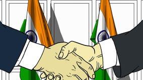 Biznesmeni lub politycy trząść ręki przeciw flaga India Spotkania lub współpraca kreskówki powiązana ilustracja royalty ilustracja