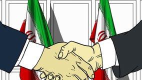 Biznesmeni lub politycy trząść ręki przeciw flaga Iran Oficjalny spotkanie lub współpraca powiązana kreskówka royalty ilustracja