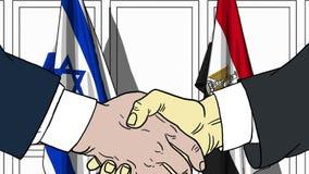 Biznesmeni lub politycy trząść ręki przeciw flaga Izrael i Egipt Oficjalny spotkanie lub współpraca odnosić sie ilustracji